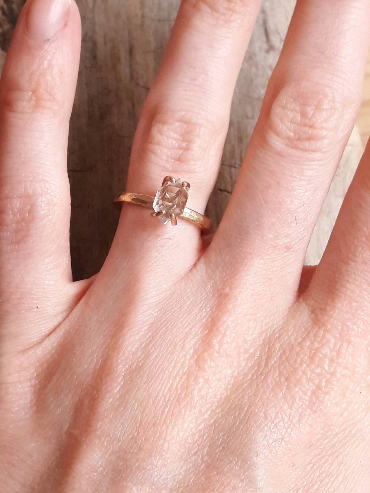 Solid 14 Karat Rose Gold Herkimer Diamond Ring Rose Gold