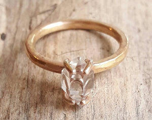 Solid 14 Karat Yellow Gold Herkimer Diamond Quartz Crystal Ring