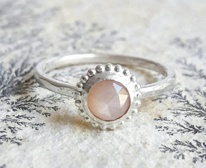 Rose Cut Peach Moonstone and Sterling Silver Stacking Ring