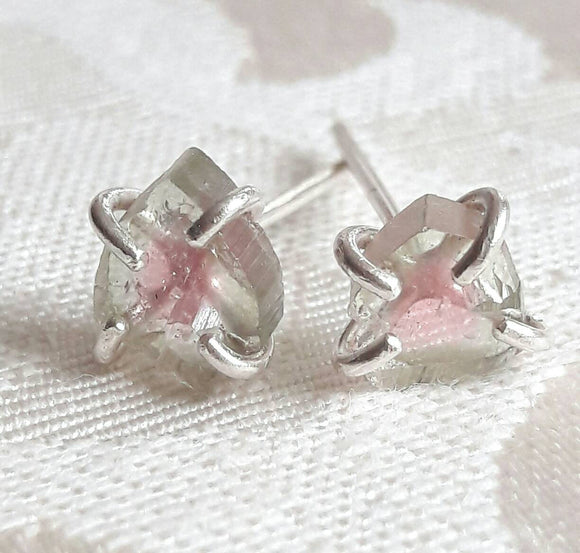 Watermelon Tourmaline Slice Stud Earrings - Silver Stud Earrings - Raw Crystal Earrings - Tourmaline Earrings - Rough Stone Earrings