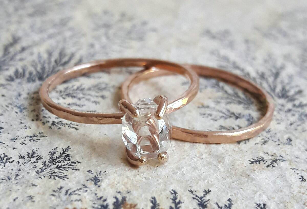 Rose Gold Fill Herkimer Diamond Quartz Crystal Wedding Set Gaias