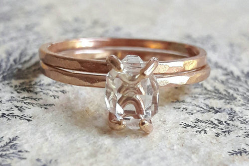 Rose Gold Fill Herkimer Diamond Quartz Crystal Wedding Set