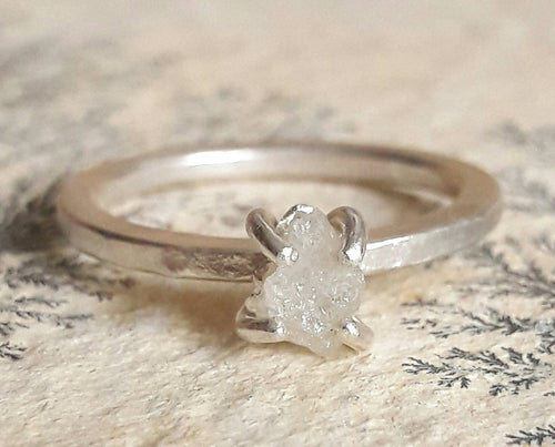 Rough White Diamond and Sterling Silver Engagement Ring