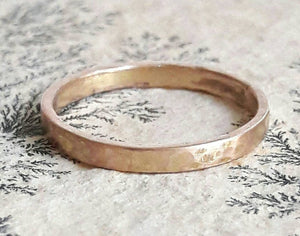 Solid 14 Karat Gold Wedding Band - Yellow Gold Ring - Rose Gold Band - Hammered Wedding Ring - Solid Gold Ring - Rustic Wedding Band