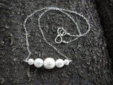 White Freshwater Pearl and Sterling Silver Bar Necklace