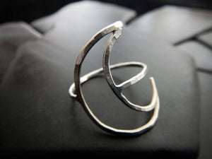 Sterling Silver Crescent Moon Ring - Lunar Ring - Silver Moon Ring - Artisan Ring - Moon Phase Jewelry - Wide Ring - Open Crescent Ring