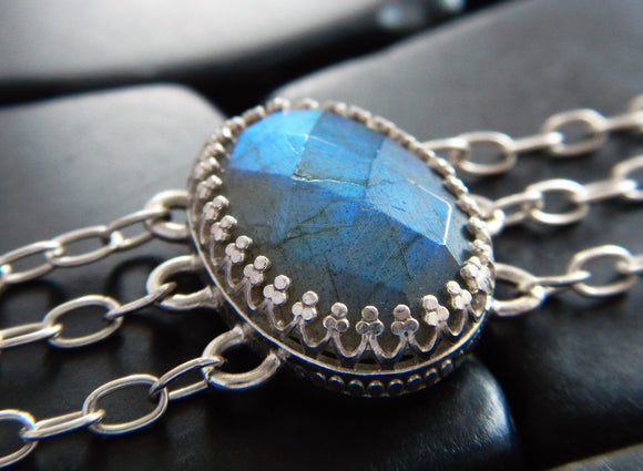 Luminous Blue Flash Labradorite and Sterling Silver Bracelet