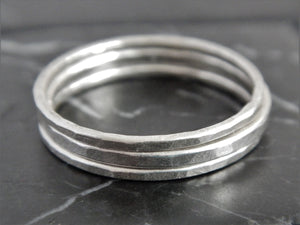 Set of Three Sterling Silver Stacking Rings