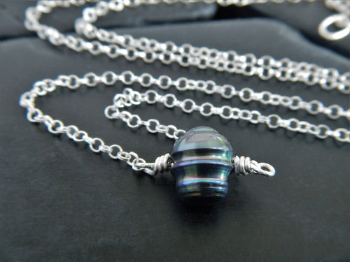 Simple Black Freshwater Pearl and Sterling Silver Necklace