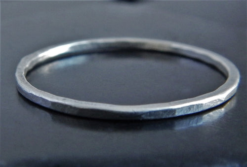 Delicate 1mm Hammered Sterling Silver Band
