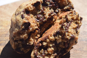 NEW - Gluten Free, Vegan Gooey Peanut Butter Filled Chunky Cookies