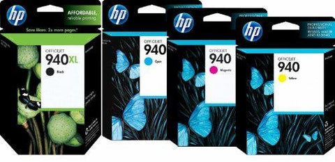 HP 940/940XL 4-pk. Ink Cartridges (CZ143FN) Black & 3 Colors