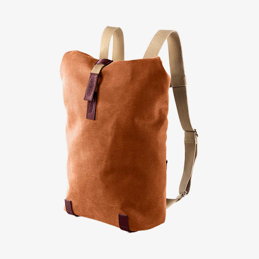 Brooks England Baumwoll Rolltop-Rucksack Goose Beak Orange Rot