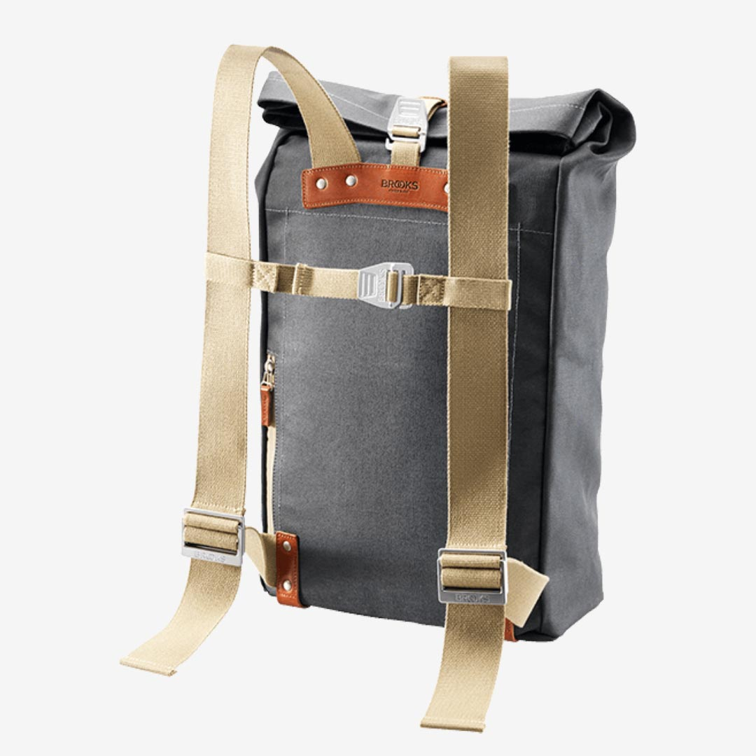 Brooks England Baumwoll Rolltop-Rucksack, grey, honey