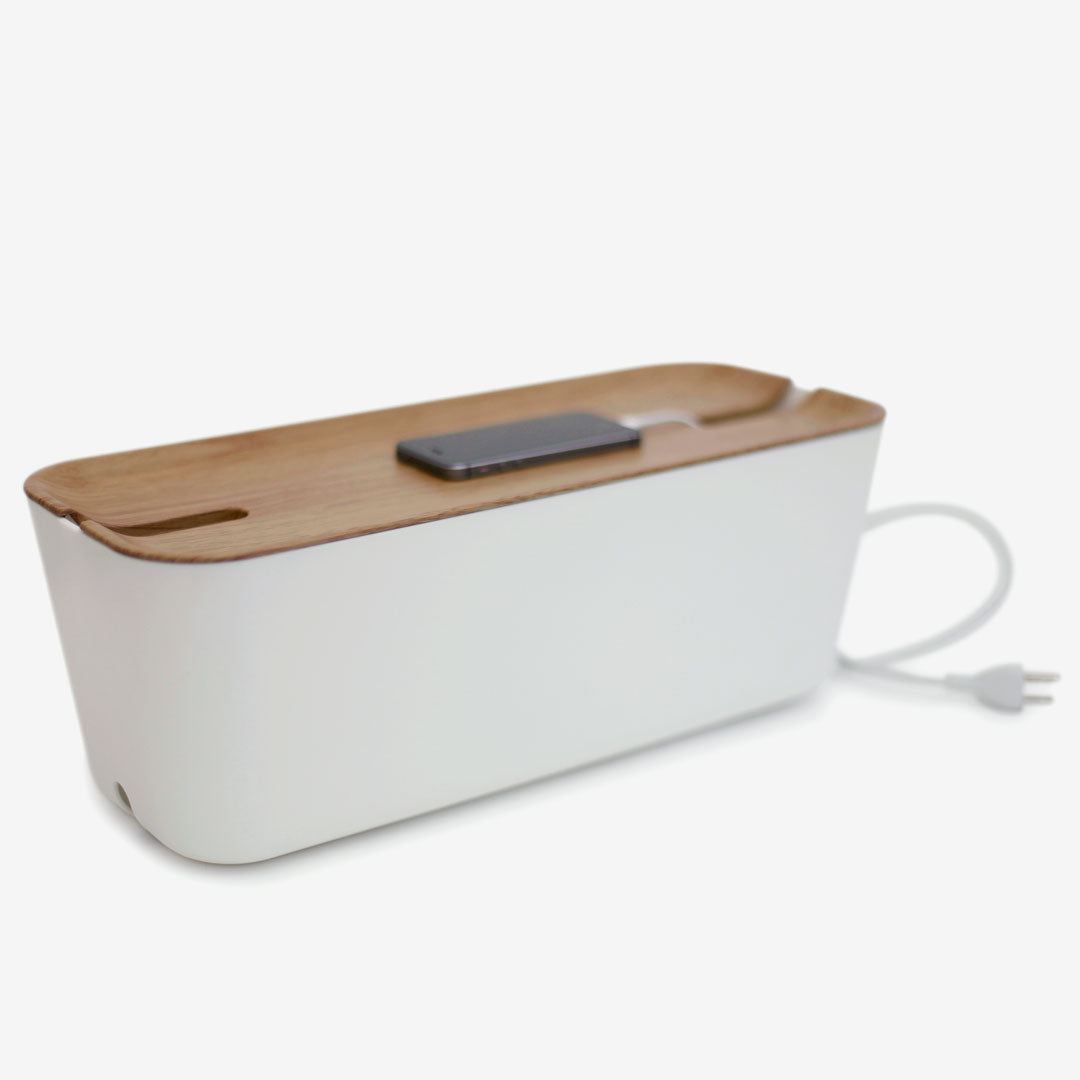 Bosign Cable Organizer Hideaway, Kabelbox 45cm, weiss, helles Holz