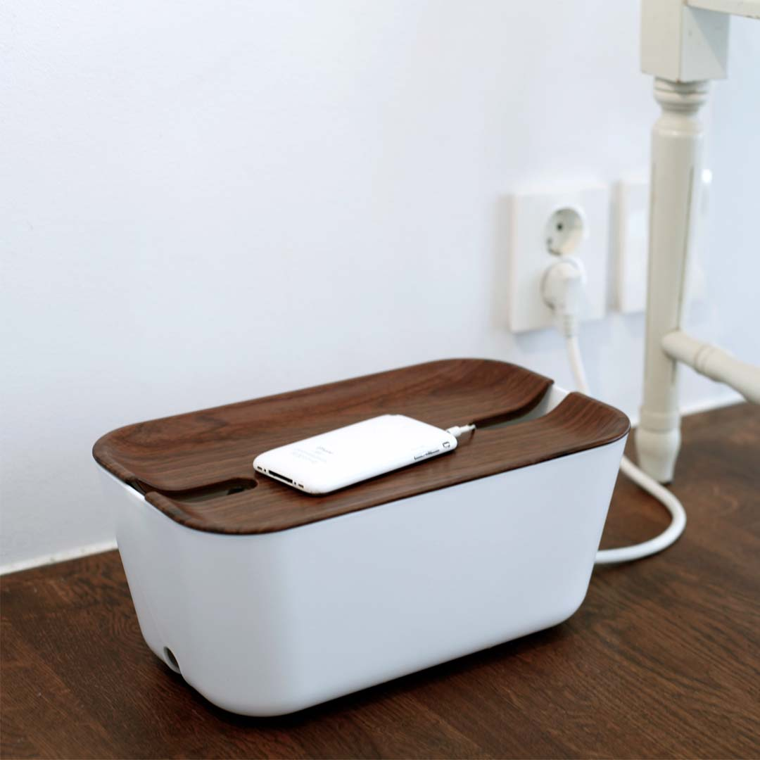 Bosign Cable Organizer Hideaway, Kabelbox 30cm, weiss, dunkles Holz