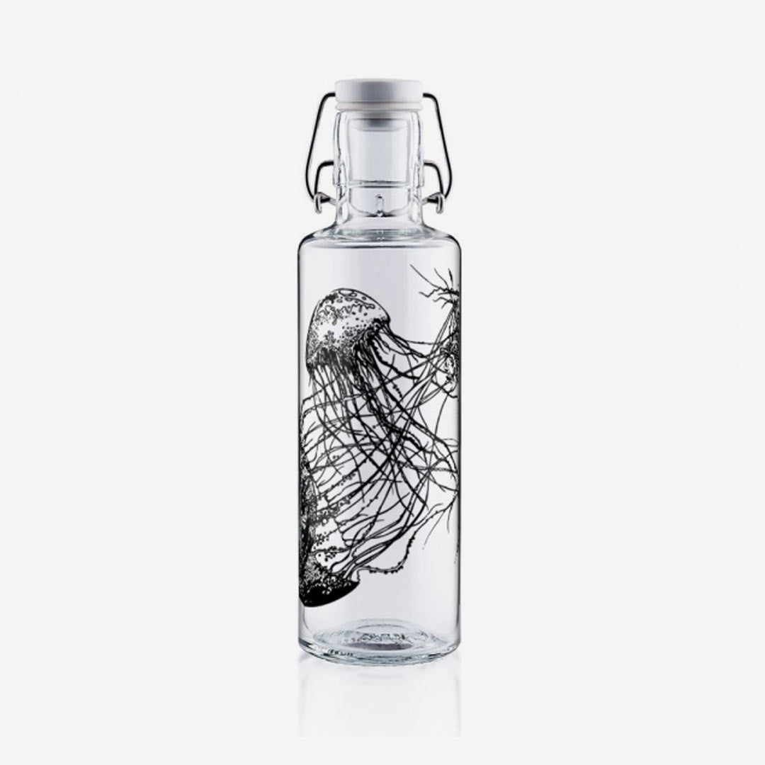Soulbottle, Trinkflasche aus Glas, jellyfish in the bottle 0,6 Liter