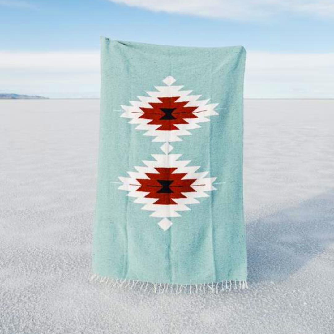 Tribe & True, Warme Camping- und Picknickdecke aus Baumwolle, Dos Diamantes Collection, Turquoise Mint
