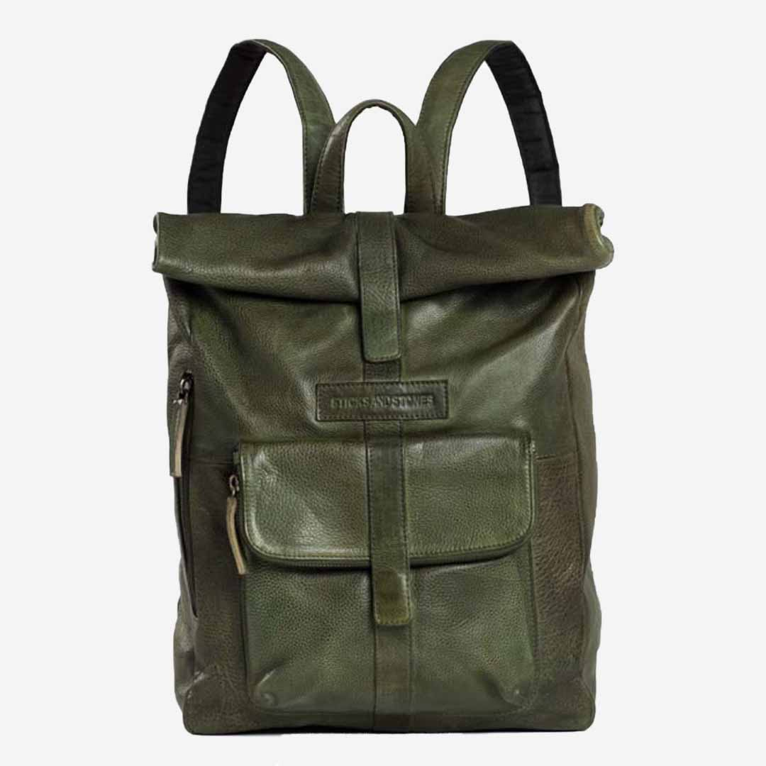 Sticks and Stones, Rolltop Rucksack Leder, dunkelgrün, Dark Olive