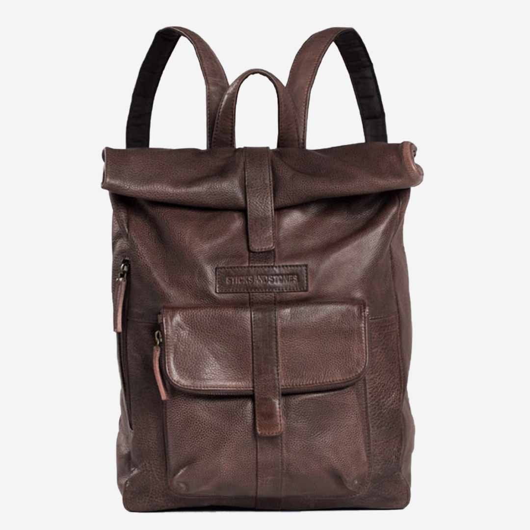 Sticks and Stones, Lederrucksack Rolltop, Taupe