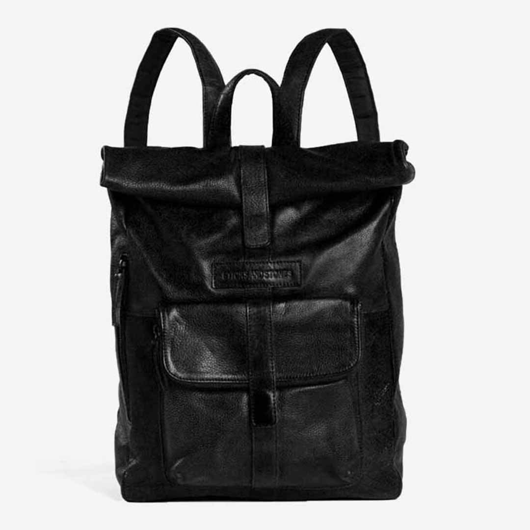 Sticks and Stones, Lederrucksack Rolltop, Schwarz