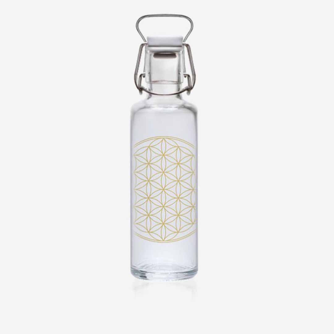 soulbottle, Trinkflasche Glas, Design Flower of Life, 0,6 Liter