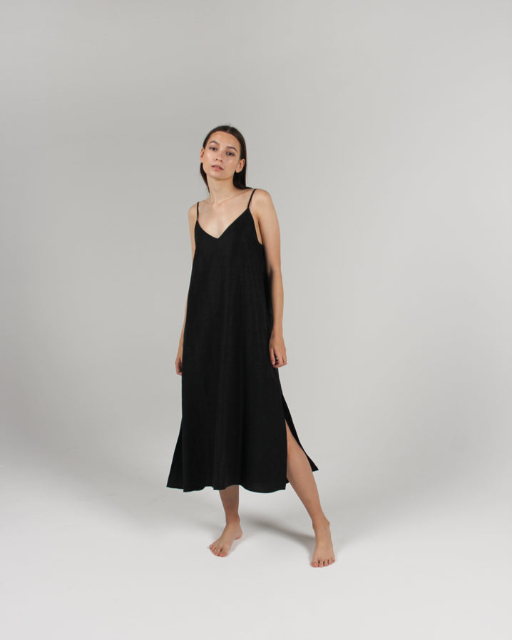 The Cala Slip Dress in Jet Black
