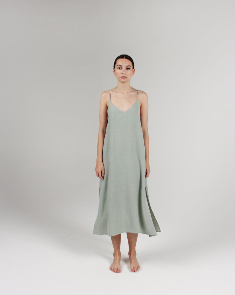 The Cala Slip Dress in Celadon