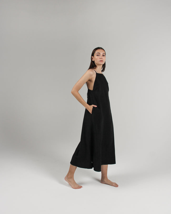 The Isla Slip Dress in Jet Black