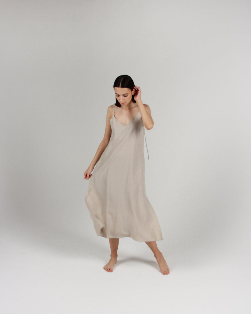 The Cala Slip Dress in Bone