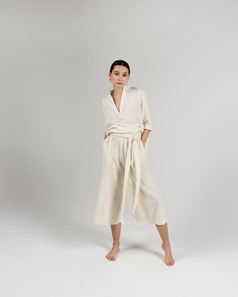 The Tie-Waist Culotte in Natural