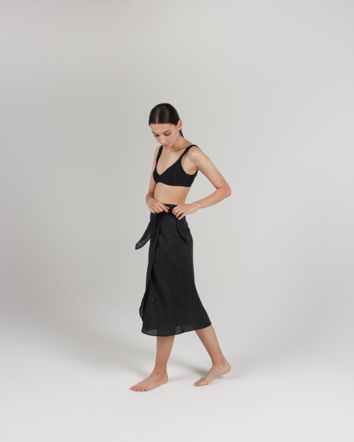 The Midi Pareo Wrap Skirt in Black