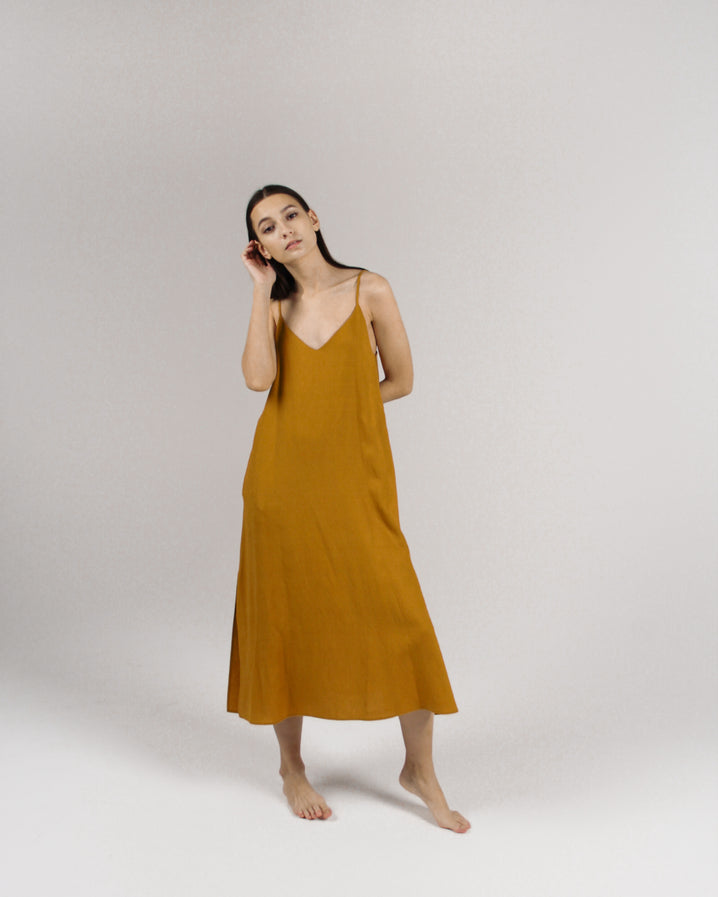 The Cala Slip Dress in Mustard