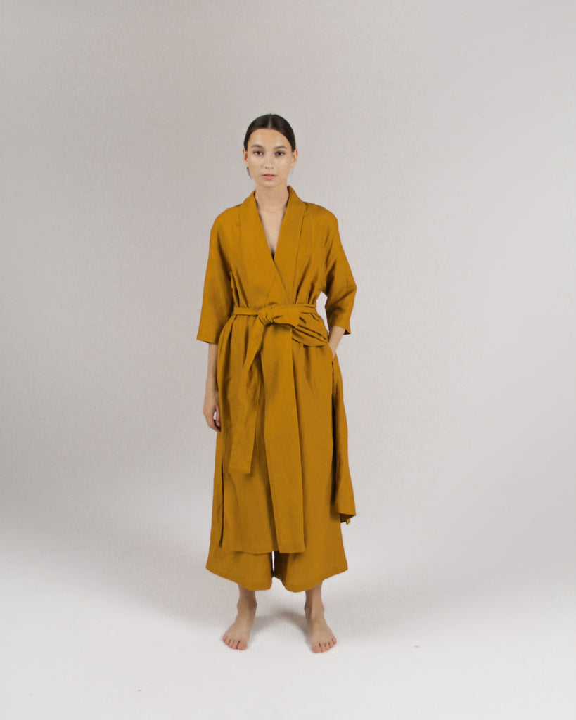 The Convertible Wrap Dress in Mustard