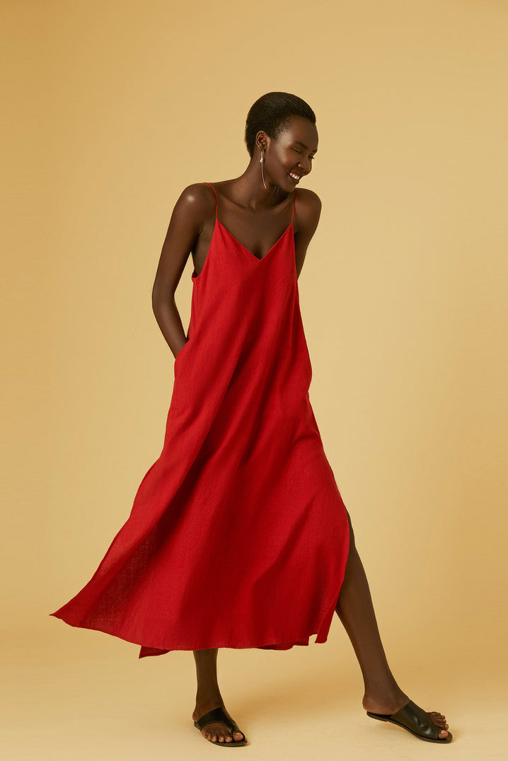 The Cala Slip Dress in Red