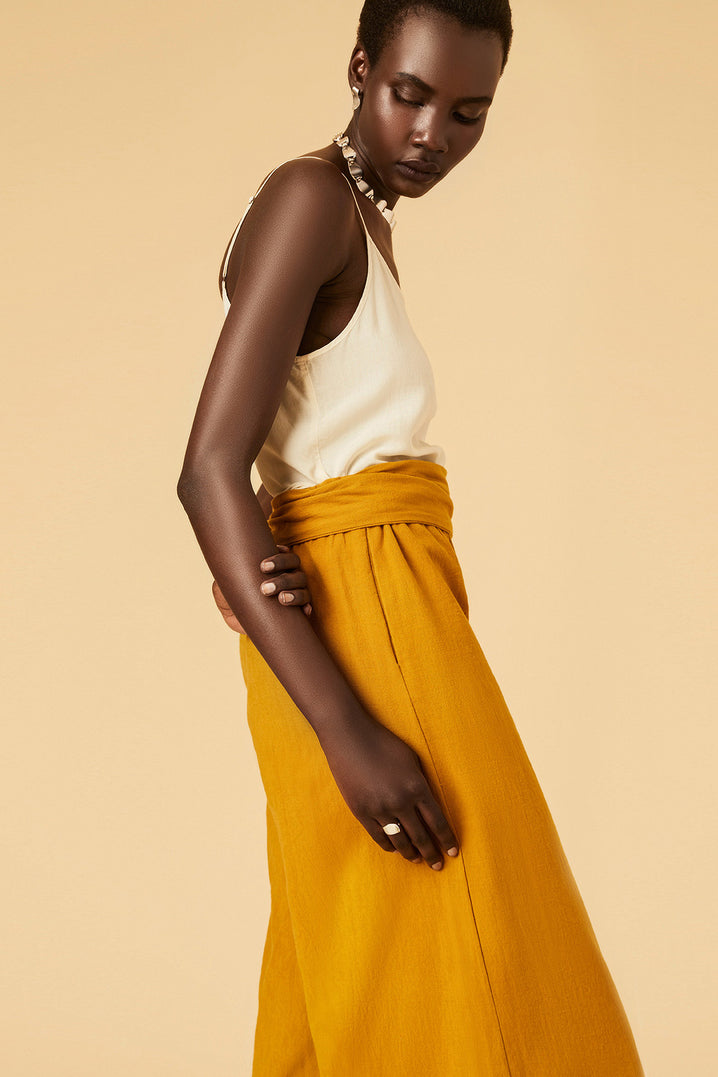 The Tie-Waist Culotte in Mustard