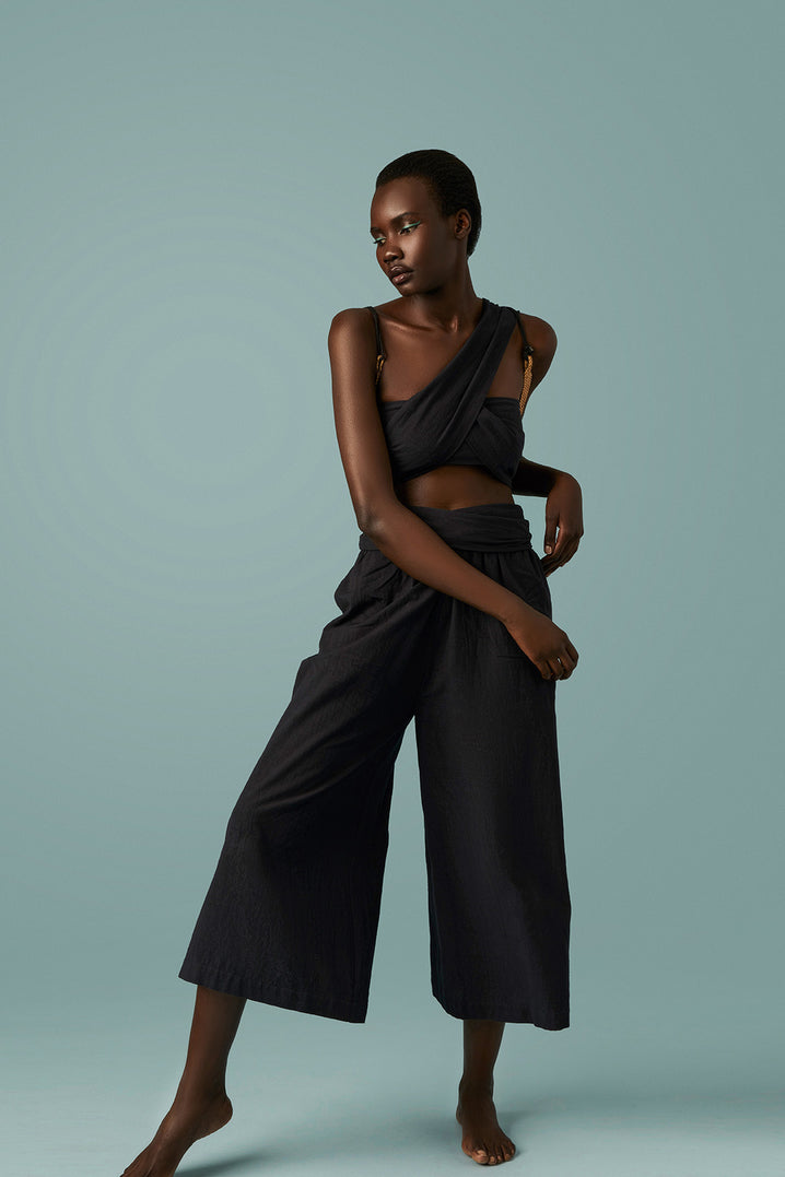 The Tie-Waist Culotte in Black