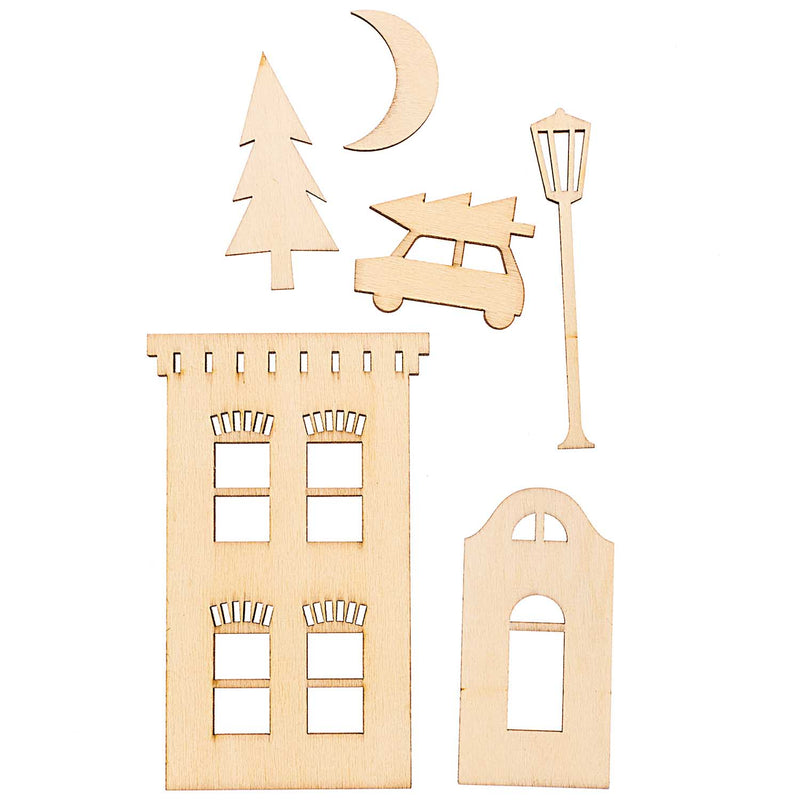 WOODEN DECORATION SET, CITY