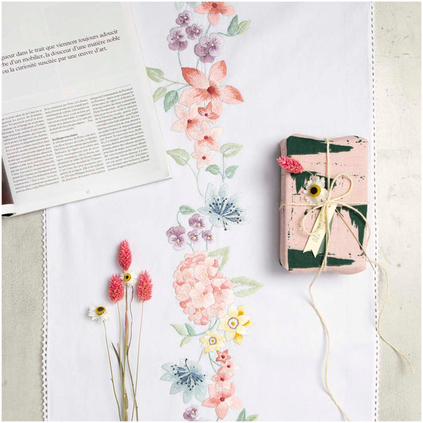 Kit broderie - chemin de table - Hortensia