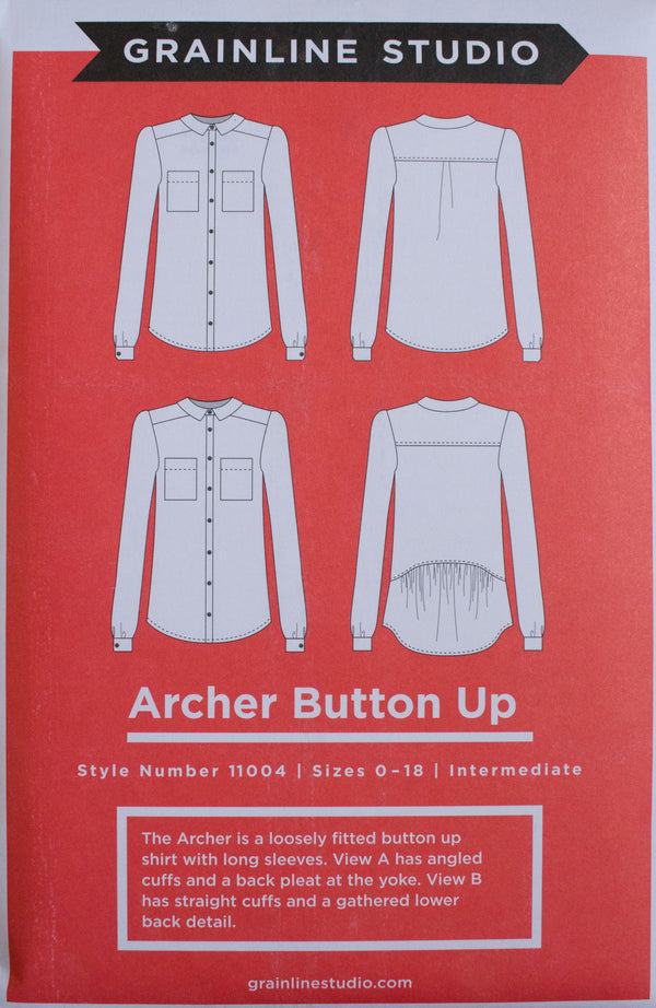 Archer button up patron papier paper pattern graineline studio