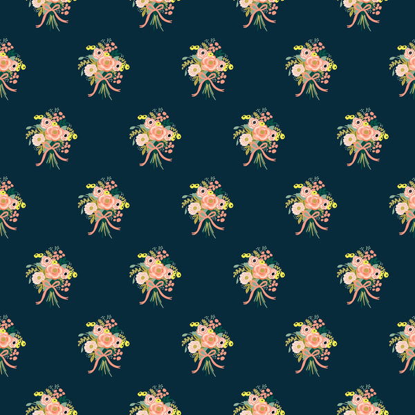 Bouquets in Navy - Coton