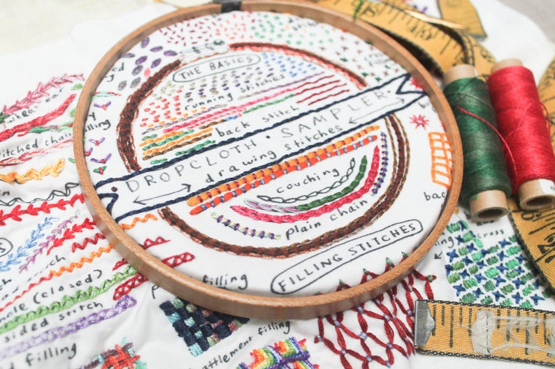 Échantillonneur de points - Broderie - Drawing stitches sampler