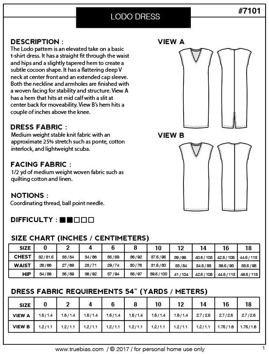 The Lodo dress - True Bias - patron papier