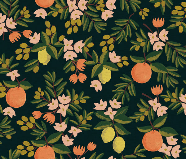 Citrus Floral - Black - Canvas lin / coton