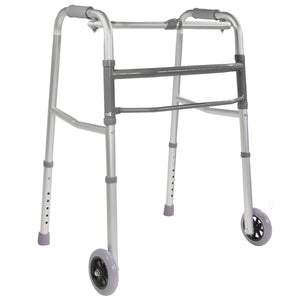 Folding Adjustable Single Release Walker with Wheels