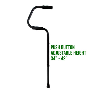 "Easy Riser Cane with Text Beside it Reading 'Push Button Height 34""-42""'"