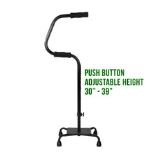 "Easy Riser Quad Cane with Text Beside it Reading 'Push Button Height 30""-39""'"