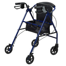 Rear View of Rollator With Curved Backrest with storage container open