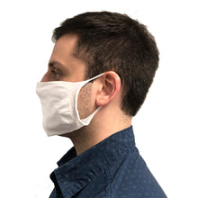 Profile view of man wearing white face mask