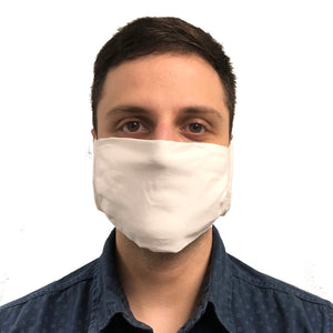 front view of man wearing white face mask